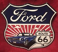 VINTAGE STYLE ROUTE 66 FORD MUSTANG PORCELAIN OIL & GASOLINE SHIELD PUMP SIGN