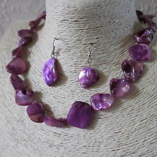 Mother of Pearl Beaded Necklace /& Matching Earrings Many Colours UK Seller Gift