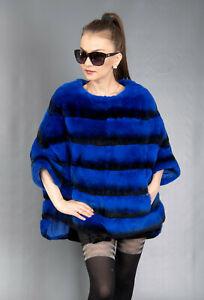 9501 NEW SUPERIOR BLUE REX CHINCHILLA FUR COAT LUXURY JACKET BEAUTIFUL SIZE 3XL
