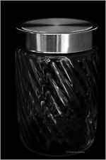 """7"""" Clear Glass Ribbed Kitchen Storage Apothecary Jar Canister Display Domed Lid"""