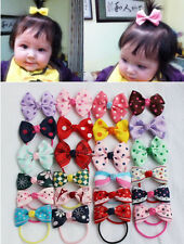 10 PCS Kids Baby Girl's Mixed Colors Hair Bow Ribbon Ponytail Holder Rubber Band