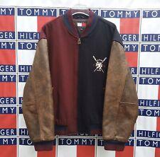 Vintage Tommy Hilfiger Varsity Jacket Letterman Coat Leather Men's Size Large L