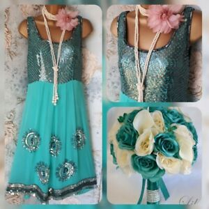 Aftershock turquoise 20s deco flapper gatsby evening party bead sequin dress 12
