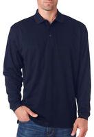 UltraClub 8210LS Golf Shirt Men's Cool & Dry Long-Sleeve Mesh Pique Polo NEW