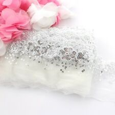 1 Meter of silver floral lace sequin trim for clothing and crafts