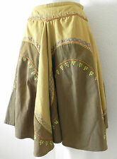 New Joolay Size Sm Green/brown  Flared Mid Calf Skirt 100% Cotton Embroidered