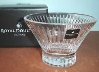 "Royal Doulton Manhattan Crystal Pedestal Bowl Vertical Cuts 4.5"" Retail $100 NEW"