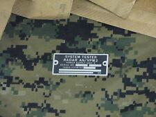 US military system tester radar an/vpm2 data plate aluminum power supply unit 2