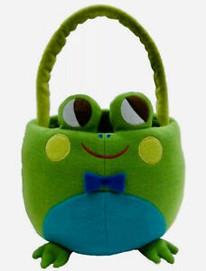 """Incredibly Cute 10"""" Frog EASTER Basket by SPRITZ Plush Basket NEW W/Tags/Handle"""
