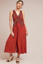 Anthropologie Maeve Orange Desert Embroidered Jumpsuit SZ 2 UK 6