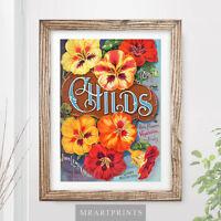 VINTAGE FLOWERS Art Print Poster Nasturtiums Gardener Illustration Painting Wall