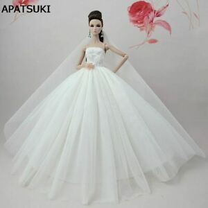 Pure White Doll Dress For Barbie Doll Long Tail Evening Gown Cloth Wedding Dress