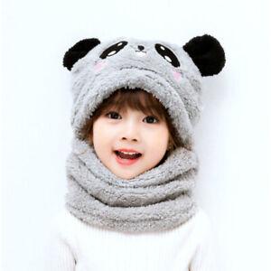Children's Cartoon Cute Winter Hat Collars Baby Fashion Outdoor Warmer Scarf Cap
