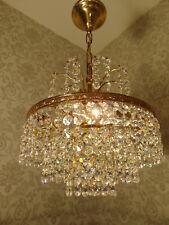 antik 3Fl  Kronleuchter  Lüster Deckenlampe Bronze Messing Gold Kristall ca.1930