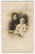 RPPC MOTHER and CHILD --  STARING BABY Bonnets Vintage Postcard  CYKO 1904-1920s