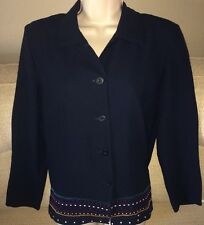 JOAN LESLIE Petite Size 6P Long Sleeve Navy Blue Embroidered Top Shirt Blouse