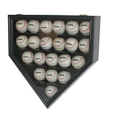 Solid Wood 21 Baseball display Case Cabinet Wall Shadow Box UV Protection Black