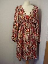Kaliko red & pink/beige printed dress with long camisole 14