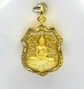 Thai Amulet Phra Sothorn Buddha Pendant Thai 22k Thai Baht Yellow Gold Plated