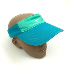Nike Womens Visor Aqua Blue Stretch Fit Swoosh Logo 1 Size Curved Bill Polyester