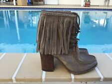 Frye Parker Fringe Distressed Aged Tan Suede Leather Ankle Bootie Sz 8M