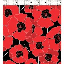 Clothworks Poppy Passion Cotton Fabric Y1574-3 Black by Karen Roti BTY