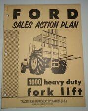 Ford 4000 Heavy Duty Fork Lift Sales Action Plan Manual Catalog Original!