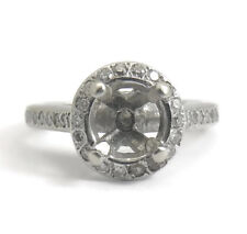 Vintage Diamond Engagement Ring Setting, Mounting, 14K White Gold, 4.53 Grams