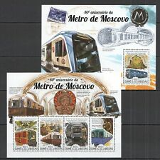 ST1016 2015 GUINEA-BISSAU TRANSPORT TRAINS MOSCOW METRO 1KB+1BL MNH STAMPS