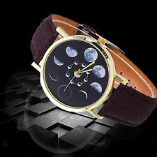Ladies Fashion Gold Tone Quartz Moon Phase Patterned Dark Brown Band Watch.