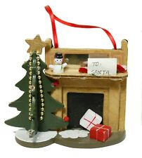 Vintage 1990 Kurt S Adler Wood Fireplace Tree Christmas Ornament Decoration