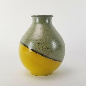 Vintage Italian Pottery Vase Raymor Bagni 2822 Green Yellow Glaze Italy 8in