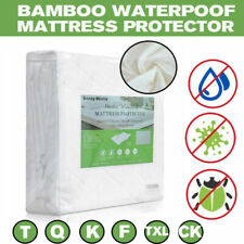 Waterproof Bamboo Mattress Cover Fitted Bed Protector Pad Size Twin King Queen