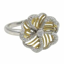 Yellow Gold-Tone Sterling Silver Filigree Flower Women Girls Ring (6)