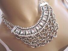 STRASS Collier Damen Hals Kette kurz Modekette Silber Statement Blogger BR143