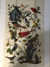 New listing Vintage Tea Towel by Kay Dee Birds Mushrooms and Butterfies 16 x 27