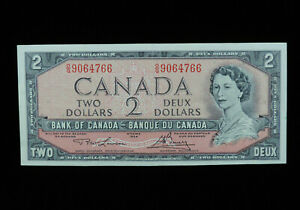 1954 $2 Dollar Bank of Canada Banknote Bill O/G 9064766 Lawson Bouey EF Grade