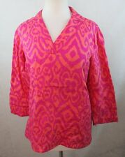 JONES NEW YORK WOMENS PETITES MEDIUM PM BLOUSE SHIRT TOP PINK LINEN 3/4 SLV NICE
