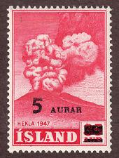 ICELAND 283  5aur on 35aur Overprint Heckla Volcano Lava  1954  MLH  OG