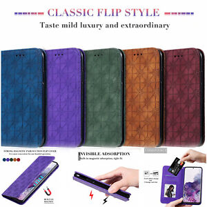 For Various Phone Covers Luxury Flip Magnetic Embossed Leather Card Stand Case
