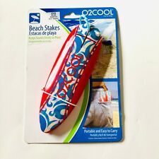 New O2Cool 4 Mini Red Surfboard Design Beach Towel Stakes Bpk05