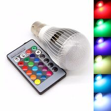 10w 16 Colour Changing RGB LED B22 Bulb Mood Night Light Lamp Remote Controller