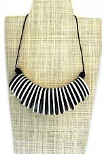 Womens Handmade Wooden Statement Necklace Black/White Tribal Adjustable Length