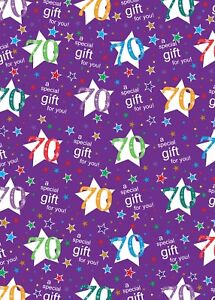 2 Sheets 70th Birthday Wrapping Paper Age 70 Gift Wrap Female / Male Purple (ex)