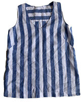 SPORTSCRAFT Size 6 Women's Pure Linen Sleeveless Tunic Top Blue & White Stripe