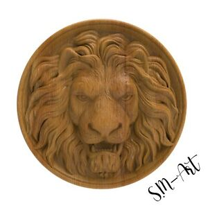 Lion Head Applique Vintage Wood Carved Beech Onlay moulding furniture Door 2xSet