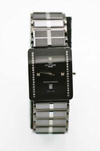 Oniss Paris Ceramic Swiss Diamond Watch Men's Date Black Rectangle ON390