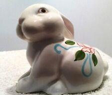 "Easter Ceramic Bunny Porcelain White With Flower On Back Ears Back 4""x5""Adorable"