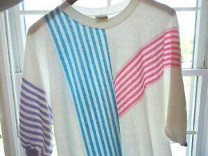 Vtg 80s Pink Purple Blue Striped Color Block Valley Girl Kawaii New Wave T-Shirt