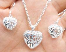 925 Sterling Silver Plating empty Heart Pendant Necklace Set Earrings